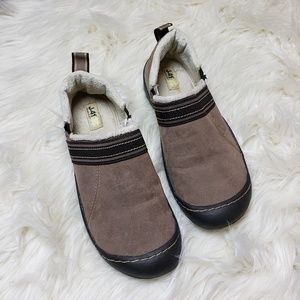 J-41 Brown Faux Fur Lined Slip On Shoes